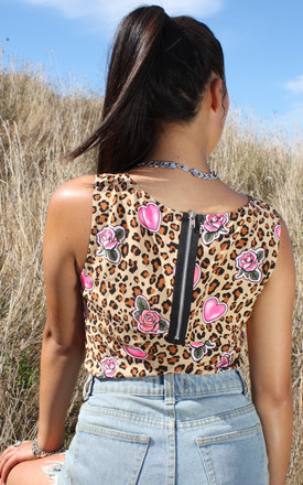 Suraia Pink Hearts with Leopard Print Cotton Vest with Exposed Back Zip by Krissyfied Boutique