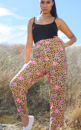 Angela Pink Hearts Leopard Print Hip Hop Trousers by Krissyfied Boutique Product photo