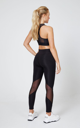 Black Slogan Mesh Panel Gym Leggings by fasheon