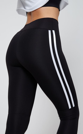 Cropped Leggings in Black with White Double Side Stripe by fasheon