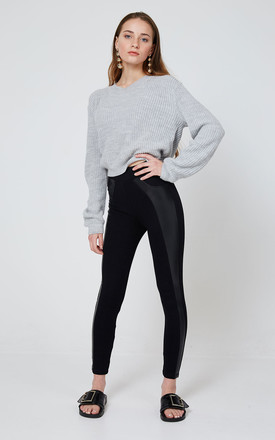 Black High Waisted Pu Side Panel Leggings by fasheon