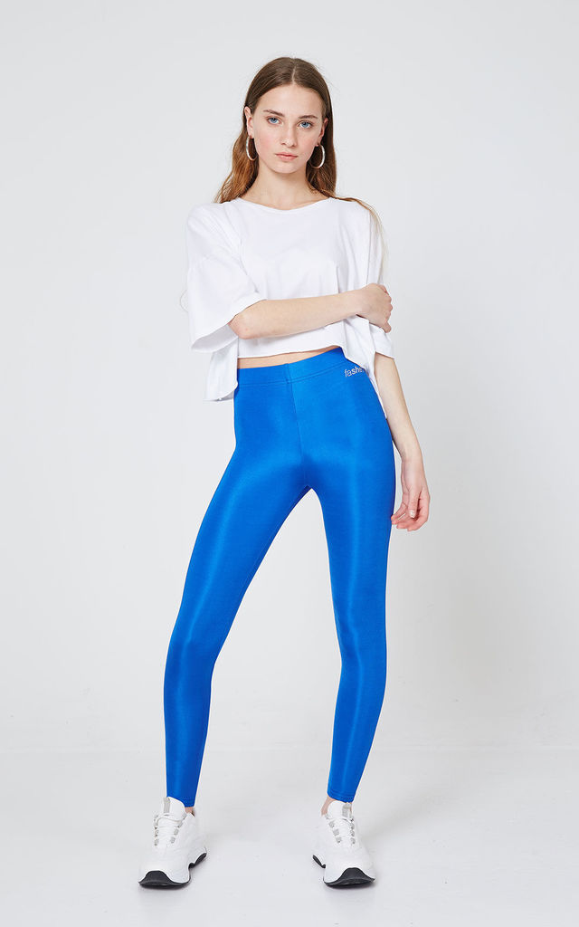 Blue Shiny High Waisted Stretchy Slogan Leggings by fasheon