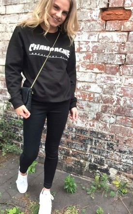 Sweater In Black With Champagne Slogan by Save The People