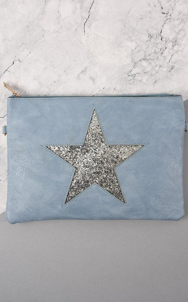 Faux Leather Bag with Glitter Star in Pale Blue by Nautical and Nice Ltd
