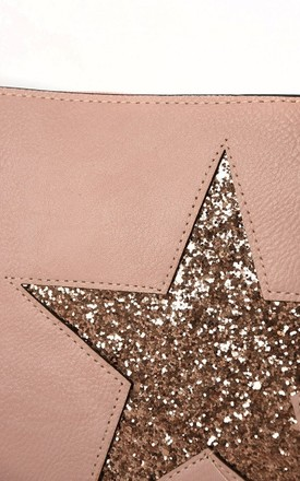 Faux Leather Bag with Rose Gold Glitter Star in Pink by Nautical and Nice Ltd