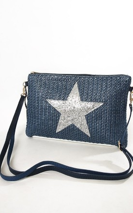 Navy Straw Bag with Metallic Silver Star by Nautical and Nice Ltd