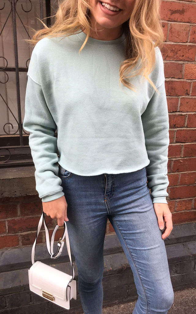 Cropped Sweater in Dusty Blue Hand Finished by Save The People