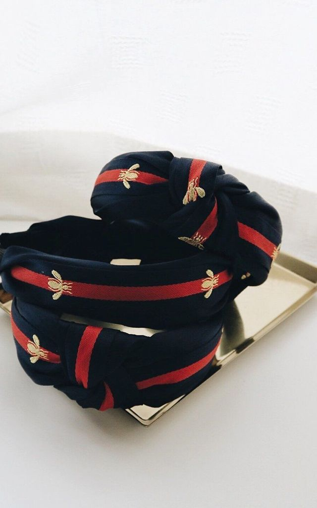 Blair Bumblebee Twist Navy & Red  Gold Bee Hairband Headband by Ajouter Store