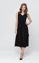 Tied Flared Sleevless Maxi Dress with V-Neck in Black by Bergamo