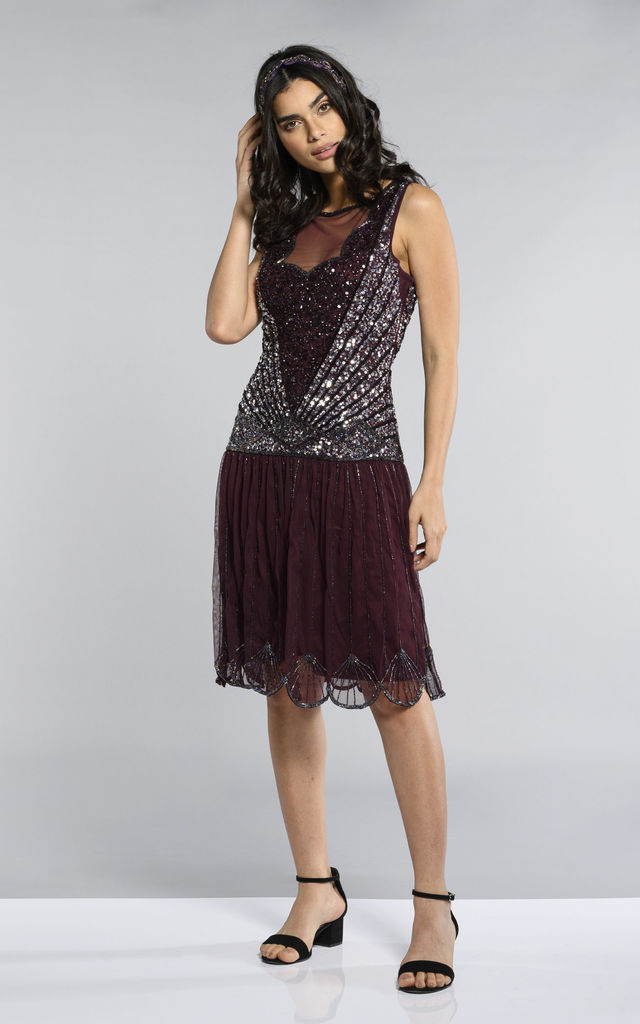 88bc1854ac4 Elaina Vintage Inspired Drop Waist Flapper Dress in Plum by Gatsbylady  London