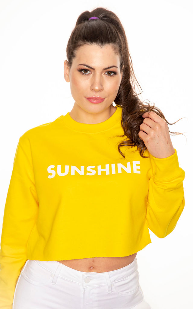 Sunshine cropped slogan sweatshirt in yellow with white print by GET IT GRL