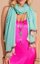 Marbella Summer Lightweight Scarf with Bohemian Charms  in Turquoise by Bibi Bijoux