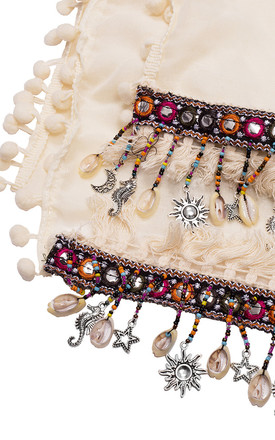Marbella Summer Lightweight Scarf with Bohemian Charms in Cream by Bibi Bijoux