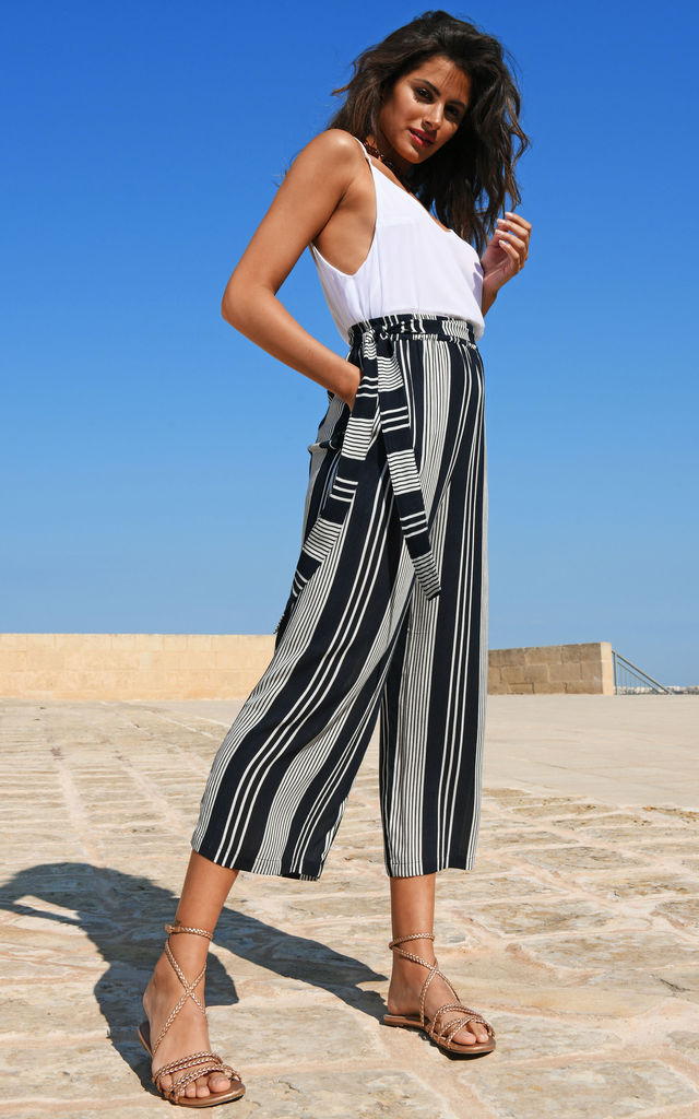 Culotte Summer Trousers Crinkle Stripes by likemary