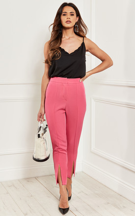 Ankle Grazer Trousers With Front Split In Pink by Bella and Blue Product photo