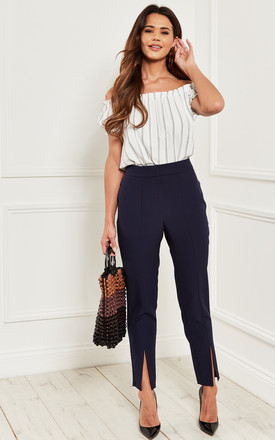 ankle grazer trousers with front split in navy blue by Bella and Blue