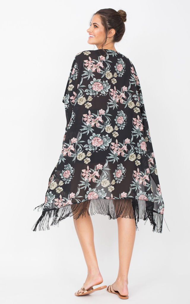 Kimono Cover Up with Tassels Floral Print Black by likemary