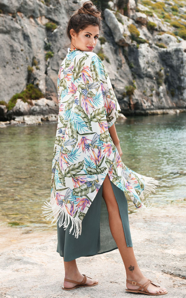 Kimono Cover Up with Tassels Floral Print White by likemary