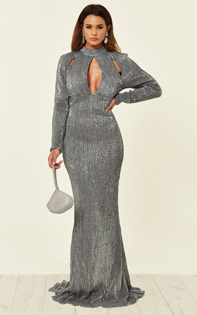 d539e379 Salma Luxe Silver Grey Keyhole Glistening Sequin Fishtail Maxi Evening  Party Ball Gown Dress. By Nazz Collection