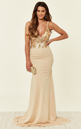 SHAYLA NUDE GOLD EMBELLISHED BUST SLINKY BACKLESS FISHTAIL MAXI DRESS by Nazz Collection