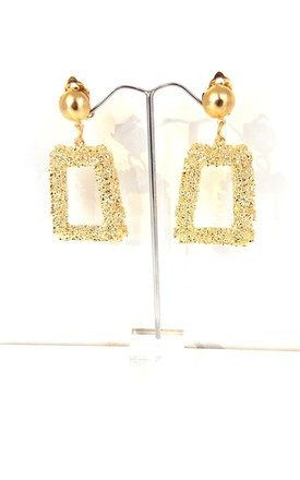Gold Tone Textured Style Clip On Earrings by Olivia Divine Jewellery Product photo
