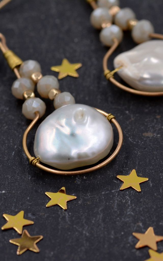 Gold Plated Beautiful Baroque Pearl Statement Earrings, Circle Dangle Earrings, Elegant and Pretty Earrings by Silver Rain