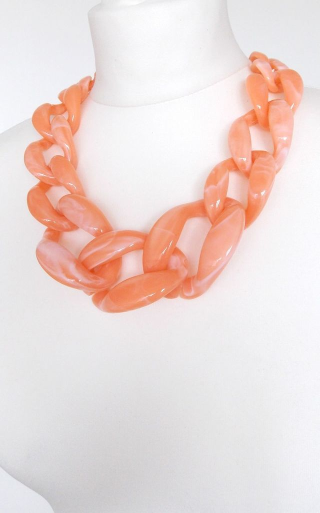 Chunky Peach Acrylic Chain Statement Necklace by Olivia Divine Jewellery
