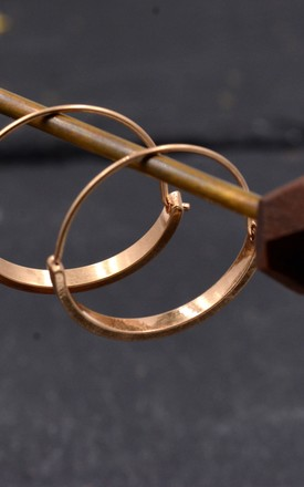 Gold Plated Brass Drop Hoop Earrings,  Circle Geometric Statement Earrings, Dangle Earrings, Minimalist Design by Silver Rain