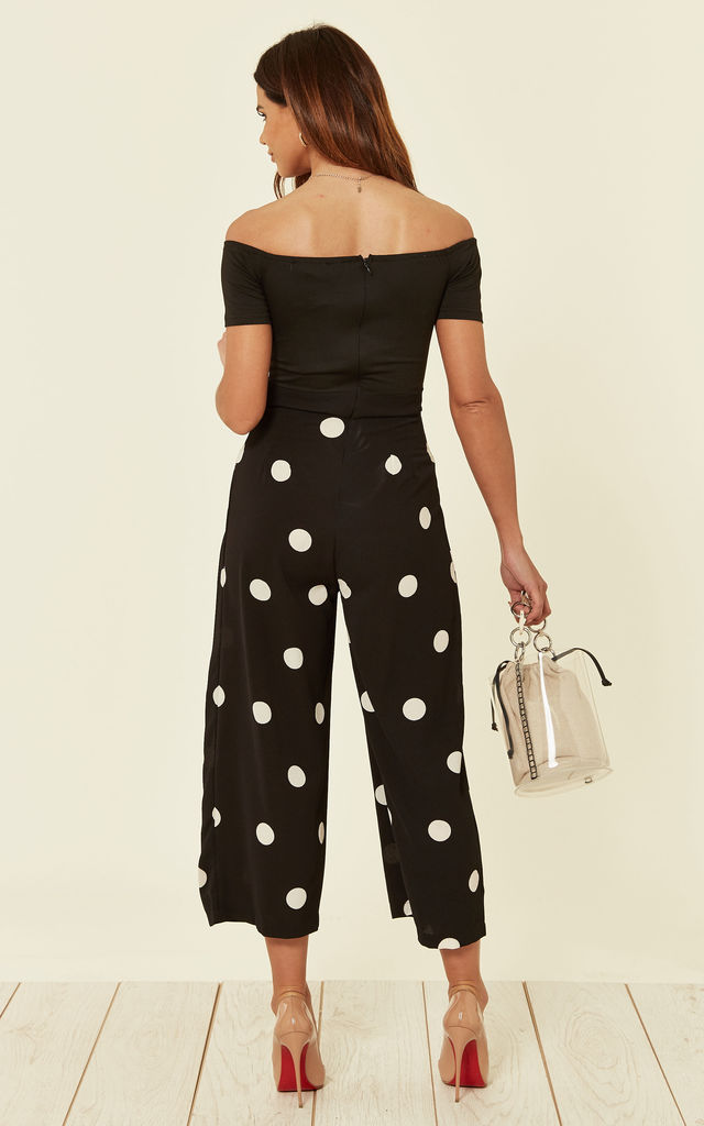 Black Spot Print Bardot Jumpsuit by AX Paris