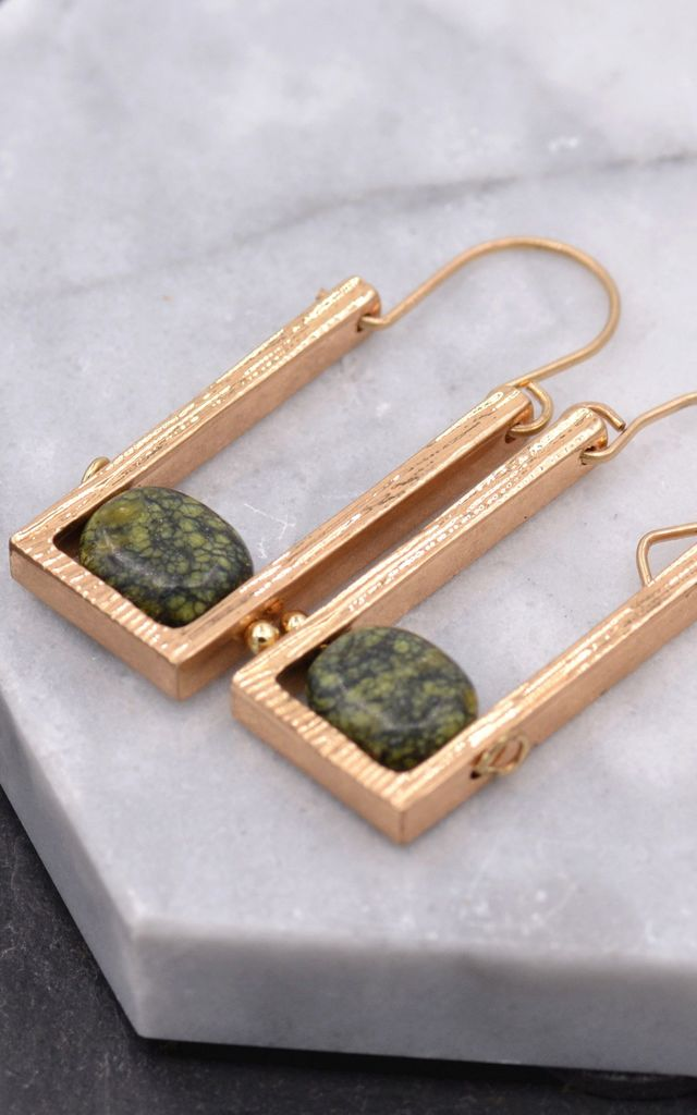 Antique Gold Earrings in Square Drop With Gemstone by Silver Rain