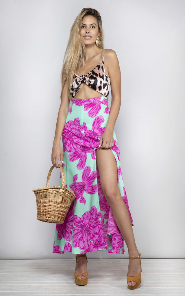 Malibu Dress in Mint and pink bloom image