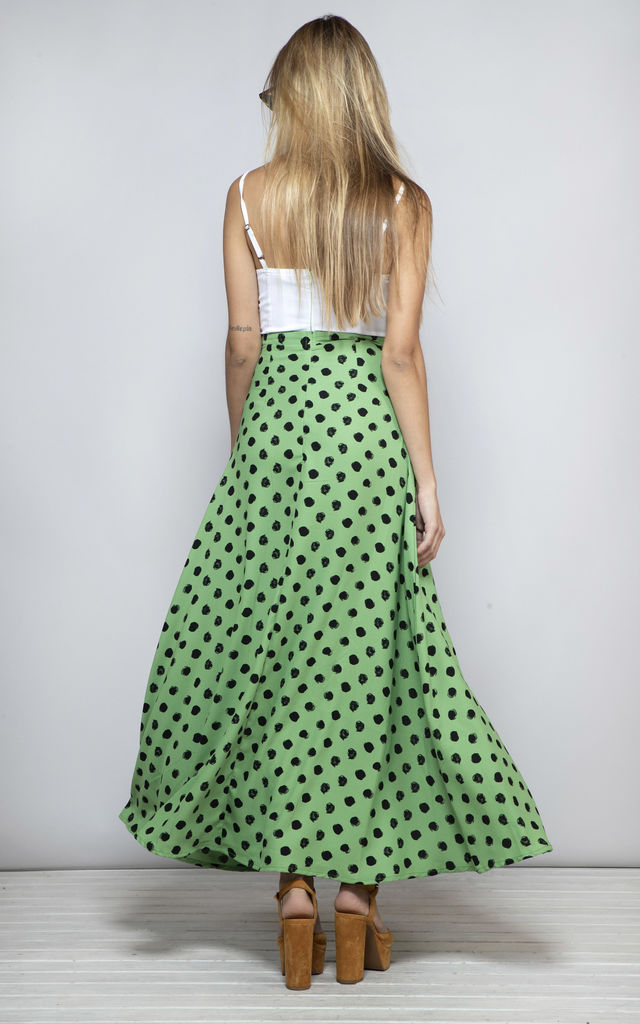 Malibu Dress in Green dotty mix image
