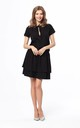 Double Ruffle Mini Dress Tied at Neck with Short Sleeve in Black by Bergamo