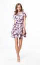 Double Ruffle Mini Dress Tied at Neck with Short Sleeve in Violet Flowers by Bergamo