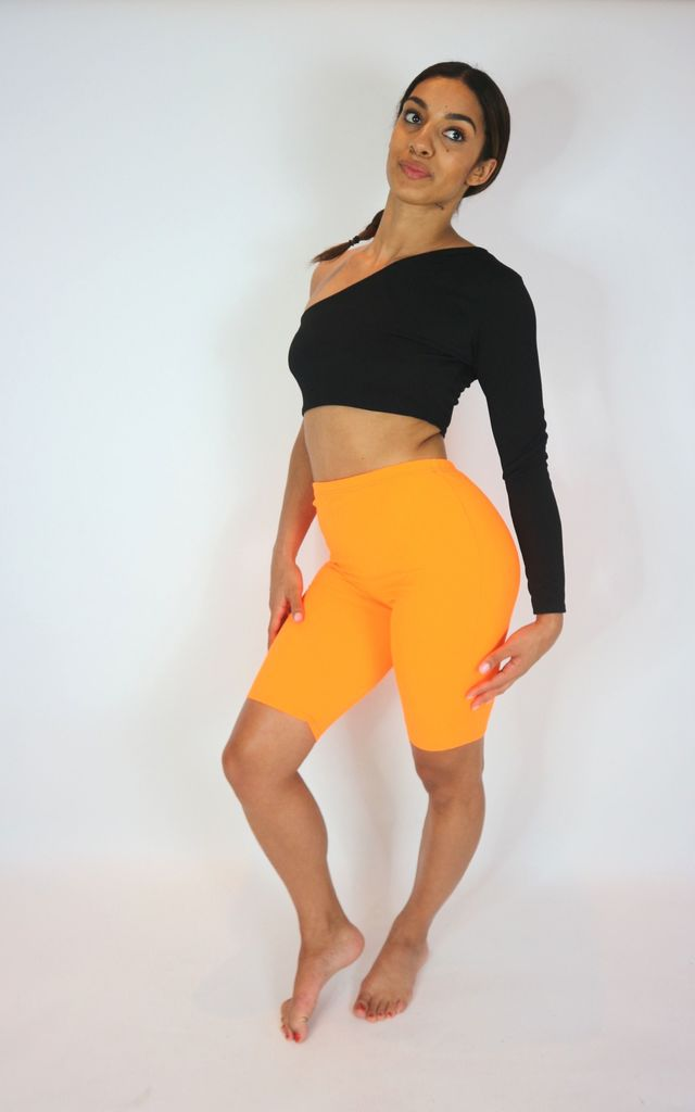 Neon orange cycling shorts by Unscripted