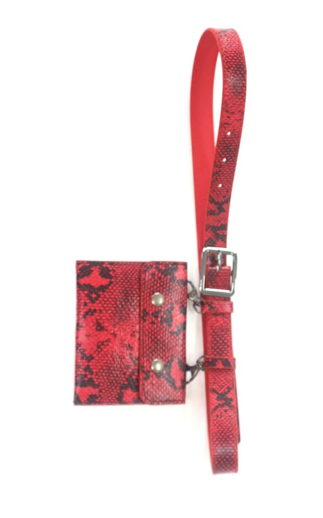 Red snake print belt bag by Unscripted