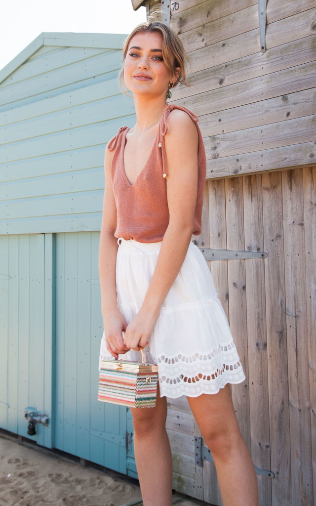 White Cotton Broderie Anglaise Trim Skirt by Styled In London