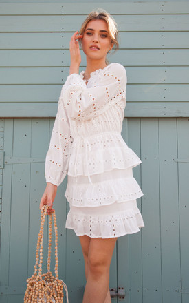 White Cotton Multi Frill Long Sleeve Broderie Anglaise Dress by Styled In London Product photo