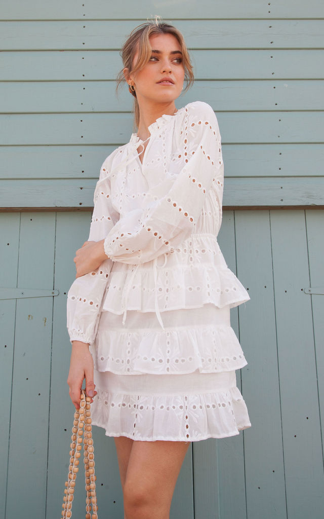 7939a9362a752 White Cotton Multi Frill Long Sleeve Broderie Anglaise Dress by Styled In  London