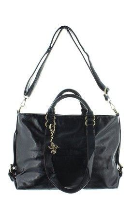 CURLEW Faux Leather Handbag in Black by Ruby Rocks Boutique