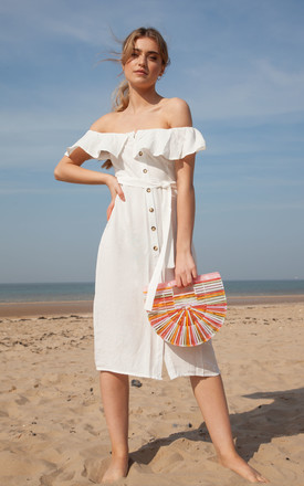 White Linen Frill Off The Shoulder Midi Dress by Styled In London Product photo