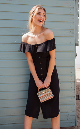 Black Linen Frill Off The Shoulder Midi Dress by Styled In London Product photo