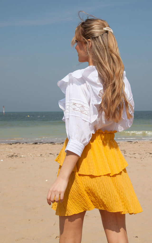 Mustard Frill Mini Skirt by Styled In London