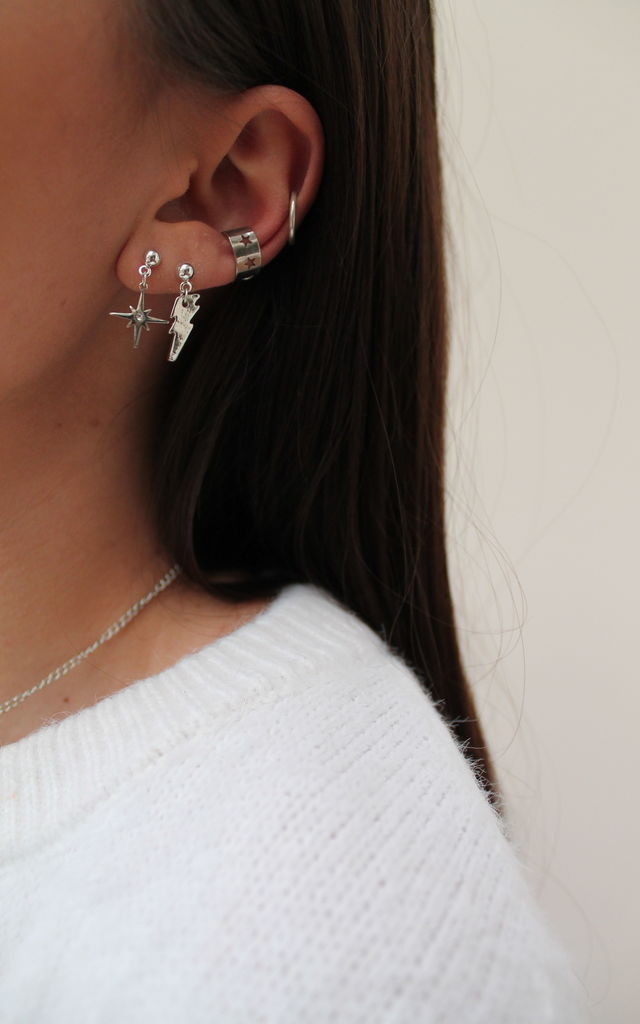 Silver Earrings with Celestial Star and Lightening Bolt Charms and Ear Cuff Set by H A N A S