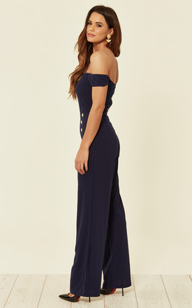 Navy Off The Shoulder Jumpsuit With Military Button Detail by AX Paris