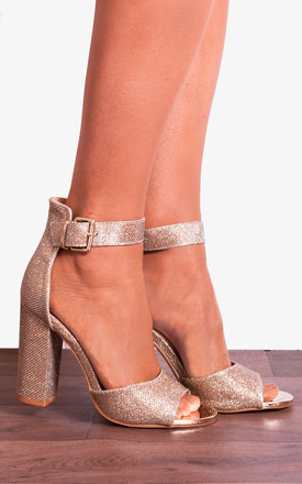 Rose Gold Shimmer Glitter Ankle Strap Block High Heeled Strappy Sandals Heels by Shoe Closet Product photo