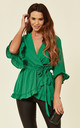 Green Wrap Frill Top by AX Paris