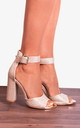 Champagne Gold Shimmer Glitter Ankle Strap Block High Heeled Strappy Sandals Heels by Shoe Closet