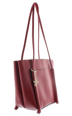 NIGHTJAR Faux Leather Tote Handbag in Red by Ruby Rocks Boutique