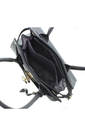 OSPREY Faux Leather Handbag with Hummingbird Charm in Black by Ruby Rocks Boutique